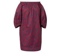 Schulterfreie Bluse mit Musterung Blau/Rot