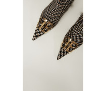 Spitze Tweed-Stiefelette mit Hahnentrittmuster Camel/Multi
