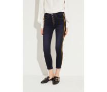 Skinny Jeans 'Debbie' mit Streifen-Detail Dunkelblau