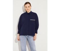 Oversize Bluse mit Verzierung Marineblau