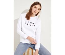 Sweatshirt 'VLTN' Weiß/Schwarz