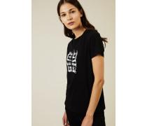 T-Shirt mit frontalem Logo-Druck Schwarz - 100% Baumwolle