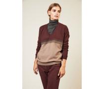 Cashmere-Pullover mit Perlendetails Beige/Rot