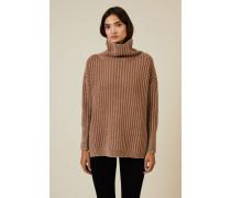 Grobgestrickter Pullover Camel - Cashmere