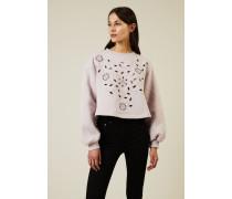 Gecropptes Sweatshirt mit Lochmuster Flieder - 100% Baumwolle