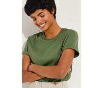 Baumwoll T-Shirt mit Perlen-Details Grün -