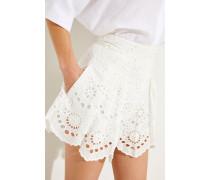 Shorts mit Stickereiverzierung Crèmeweiß -