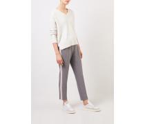 Hose mit Streifendetails 'Vicky Stripe' Grau/Beige