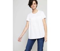 Ausgestelltes Baumwoll-Shirt Weiß