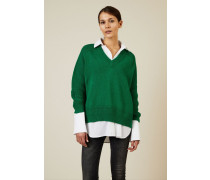 V-Neck Baumwoll-Pullover Grün - 100% Baumwolle