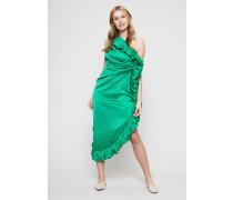 One-Shoulder Midi- Kleid mit Raffungen Grün
