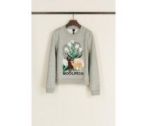 Baumwoll-Pullover mit floraler Stickerei Grau