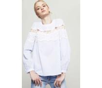 Gestreifte Bluse mit Häkeldetails Blau/Weiß - 100% Baumwolle