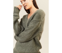 Mohair-Woll-Pullover mit V-Neck Salbei