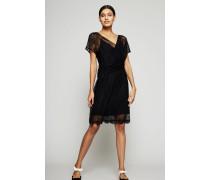 Mini-Kleid 'Draped Lace Dress' Schwarz
