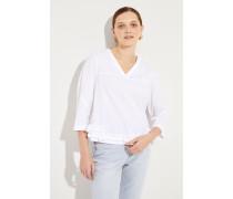 Baumwoll-Bluse mit Rüschendetails Weiß
