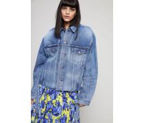 Oversized Jeansjacke mit Schriftzug Light Blue - 100% Baumwolle