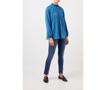 Bluse mit Plissee-Details Blau