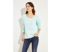 Rippstrick Cashmere-Pullover Aquablau