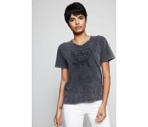 T-Shirt mit Stickerei Grau - 100% Baumwolle