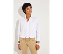 Crop-Bluse mit Perlen-Details Weiß