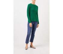 Cashmere-Pullover mit Strickdetail Grün
