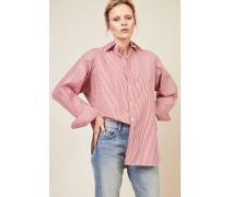 Oversize Bluse Rot/Weiß - 100% Baumwolle