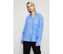 Oversized Leinen-Bluse 'Cril' Blau