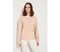 Gestreifter Cashmere-Woll-Pullover mit Stickerei Pink/Beige