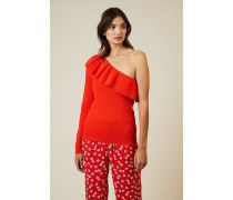 One-Shoulder Pullover 'Poppy Knit' Rot