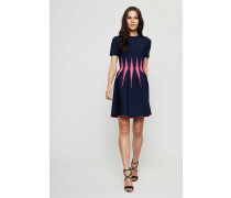 Gemustertes Stretch-Kleid Navy