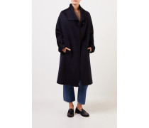 Woll-Cashmere-Mantel mit Gürtel Marineblau