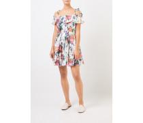 Leinen-Kleid mit floralem Print Weiß/Multi