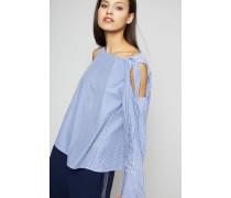 Bluse mit Schulter-Cut-Outs Weiß/Blau - 100% Baumwolle