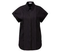 Kurzarm Baumwoll-Bluse mit Perlenverzierung Schwarz