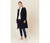 Woll-Cashmere Mantel mit Fellkragen Blau - Cashmere