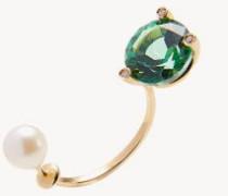 Ohrring 'Green Gold' mit Diamanten und Topaz Gold/Grün