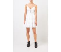 Kurzes Baumwoll-Kleid mit Spitze Weiß