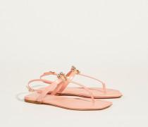 Sandale mit Steinchenverzierung Rosé