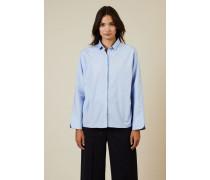 Oversize Baumwoll-Bluse Blau -