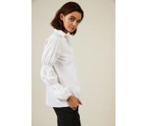 Bluse mit gepufftem Ärmel Weiß