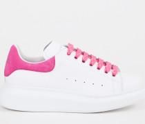 Leder-Sneaker Weiß/Fuchsia