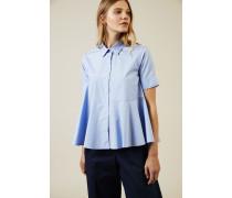 Verspielte Baumwoll-Bluse Blau - 100% Baumwolle