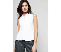 Baumwoll-Bluse mit Plissee-Details Weiß