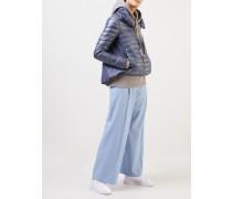 Daunen Jacke mit gerafftem Kragen Taubenblau
