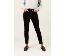 Skinny-Jeans 'High Rise Velvet' Schwarz