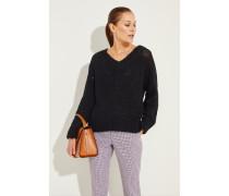 Baumwoll-Leinen-Pullover mit Pailletten Schwarz