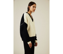 Oversize Woll-Pullover mit Reißverschlüsse Navy/Weiß