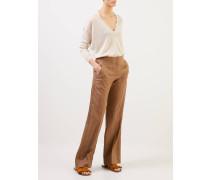 V-Neck Pullover mit Lurexdetails Beige/Gold