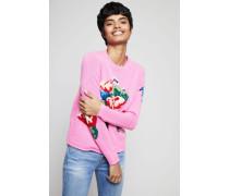 Cashmere-Pullover mit Blumenmuster Pink - Cashmere